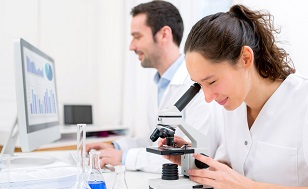 Young attractive woman working in a laboratory